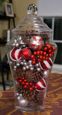 Glass Jar Holiday Centerpiece - Christmas Decoration