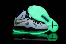 Glow in the Dark Nike Zoom Lebron James X 10 White/Navy Blue/Gold Medal Mens  - good choice