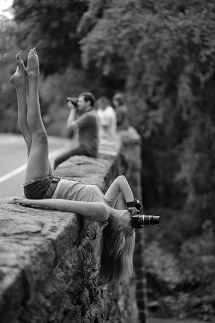Great Black & White Photo of a Lady Taking a Photo - Fantastic shots