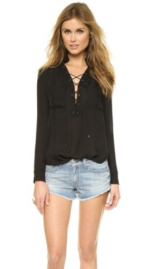 Haute Hippie Gypsy Lace Up Blouse - Spring Wardrobe