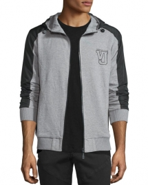 Versace Hooded Zip-Front Jacket, Gray - Man Style