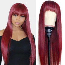 Human Hair Wigs With Bangs Brazilian Straight Hair -Ashimary Hair - Fave hairstyles
