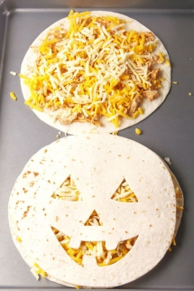 Jack 'O Lantern Quesadillas - Cooking