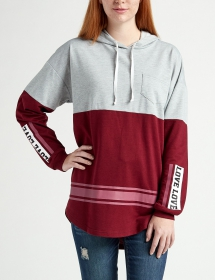 Justify Love Hooded Color Block Sweeper Top - Comfy Clothes