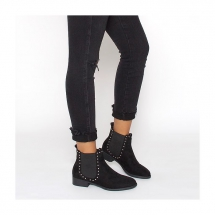 Katrina Black Suede Studded Flat Ankle Boots - Boots, boots, and more boots