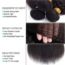 Kinky Straight Hair 3 Bundles 9A Human Hair Natural Color Remy Hair  - Party ideas