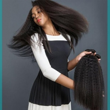 Kinky Straight Hair Weave 3 Bundles With Closure Brazilian Hair - Party ideas