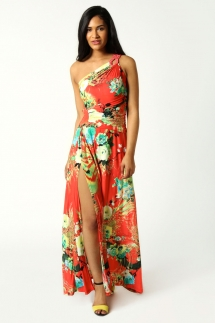Maggie One Shoulder Printed Slinky Maxi Dress - My Summer Fashion