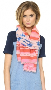 Marc by Marc Jacobs Palm Tree & Stripe Yarn Dye Scarf  - Accessories