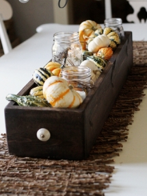 mason jars and gourds centerpiece - Decor for Thanksgiving
