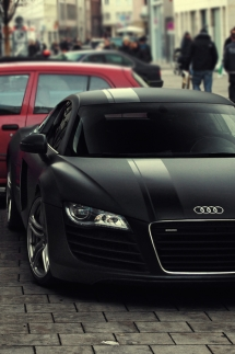 Matte Black Audi R8 with Black Racing Stripe - Cars