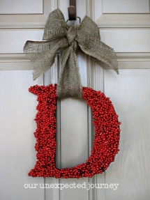 Monogram Wreath with Holly - Christmas Decoration