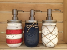 Nautical Mason Jar Soap Dispenser - Beach House Decor Ideas