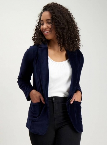 Navy Jersey Corduroy Blazer - Spring Clothes Shopping