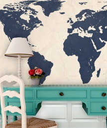 Navy World Map Wall Art - Ideas for the home