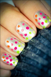 Neon Rainbow Dotted Nails - Nail Art