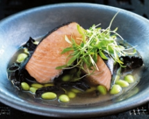 Nori-wrapped Salmon with Black Trumpet Mushrooms & Soy Beans in Miso Broth - Salmon Recipes