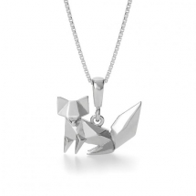 Origami Fox White Gold Plated Silver Necklace by John Greed  - Jewelry