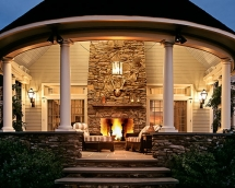 Outdoor Fireplace on Porch - Cool architecture