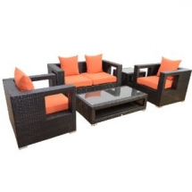 Outdoor Rattan Wicker Sectional Loveseat Sofa Set - Outdoor Furniture