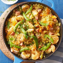 Paella-Style Rice with Ham and Shrimp - I love to cook