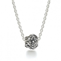 PANDORA OPENWORK PAVÉ FLOWER CHARM NECKLACE - Jewelry