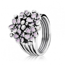 PANDORA PINK CHERRY BLOSSOM MULTIPLE FLOWER RING  - Jewelry