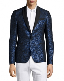 Pierre Balmain Star-Print Jacquard One-Button Evening Jacket - Man Style