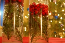Quick Centerpiece with Spare Pine Needles - Christmas Party Ideas