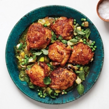 Roast Chicken Thighs with Peas and Mint - Cooking