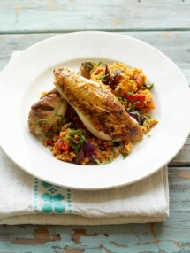 Roast Chicken with Couscous - Cooking