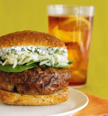 "Rosemary-Sage Burgers With Apple Slaw and Chive ""Mayo"" - Easy recipes"