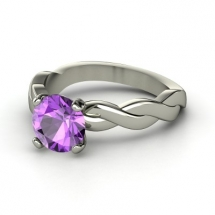 Round Amethyst 14K White Gold Ring - Fave Clothing & Fashion Accessories