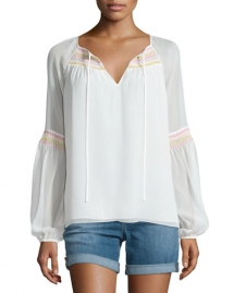 Sammy Embroidered Long-Sleeve Silk Top - Spring Wardrobe