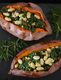 Savory Stuffed Sweet Potatoes with White Beans and Kale - Vegetarian Cooking