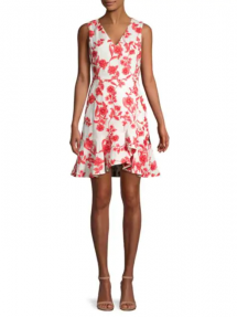 Scarlet Embroidered Flounce Hem Dress - Clothing, Shoes & Accessories