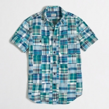 Short sleeve patchwork plaid shirt - For him