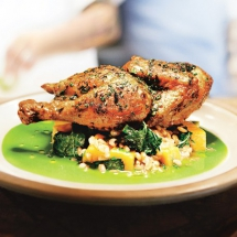 Skillet-Roasted Chicken with Farro and Herb Pistou - Cooking