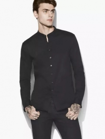 Solid Band Collar Shirt - Man Style