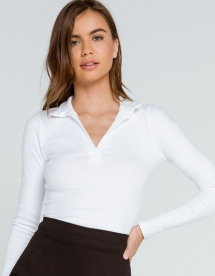 Solid Johnny Collar Womens White Top - Clothing, Shoes & Accessories