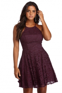 Stacy Glitter and Lace Party Dress - Dresses