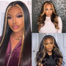 Straight Lace Front Wigs With Honey Bonde Highlights Brazilian Human Hair -Ashimary Hair - For the new arrival