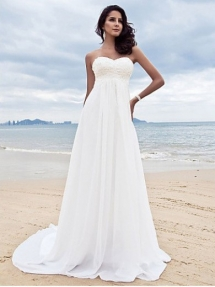 Strapless Sweetheart Chiffon Destination Wedding Dress - Our destination wedding