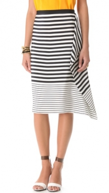 Stripe Draped Skirt  - Fave Clothing