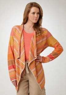 Striped Drape Neck Cardigan - Fave Clothing
