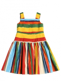 Stripes Print Cotton Poplin Dress from Dolce & Gabbana - For the little one