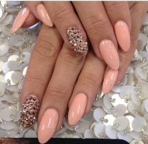 Studded Pink Stiletto Nails - Nail Art