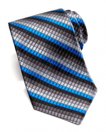 Textured Box-Stripe Silk Tie, Black Blue Silver Grey - Clothes make the man