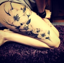 Thigh flower tattoo - Tattoo ideas