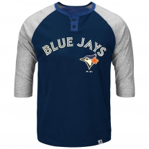 Toronto Blue Jays Force Play 3 Quarter Sleeve Henley - Sports Apparel